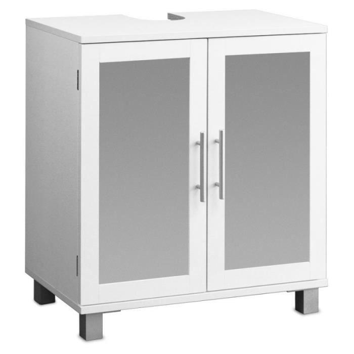 Meuble sous vier avec deux portes en verre d poli achat for Meuble avec porte en verre
