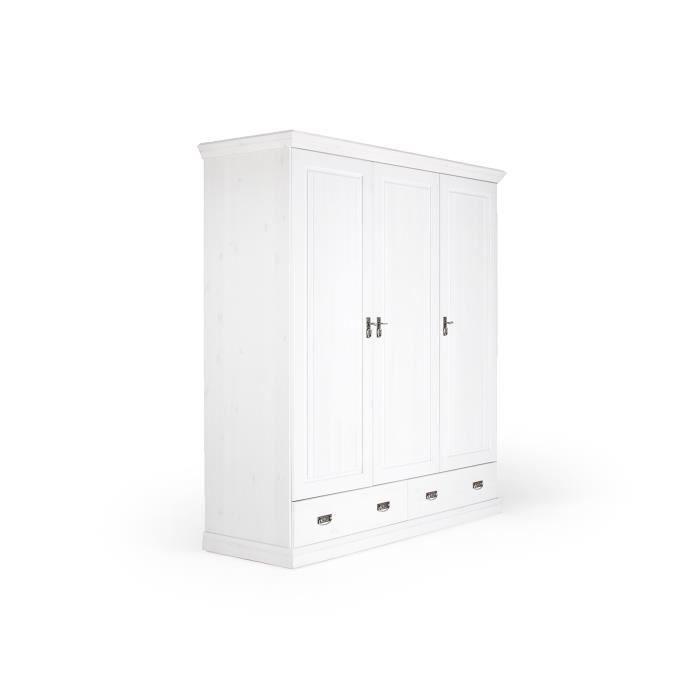 Armoire manty avec 3 portes en pin massif blanc massivum achat vente armo - Armoire pin massif blanc ...