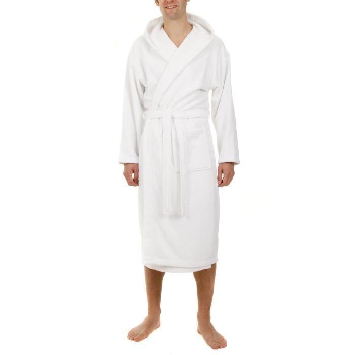 John christian peignoir capuche en ponge blanc 100 coton achat vente peignoir for Peignoir homme capuche