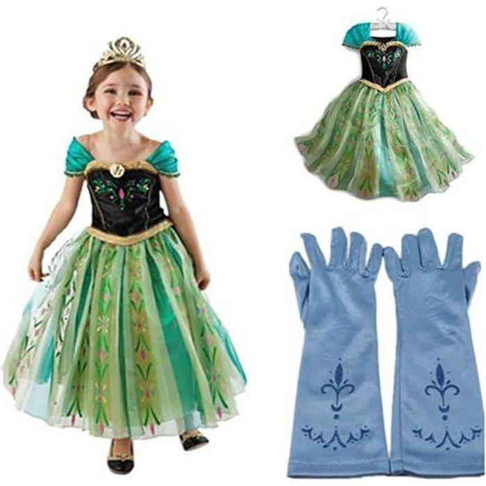 Robe paire de gants bleu reine des neiges anna elsa - Robe de anna reine des neiges ...
