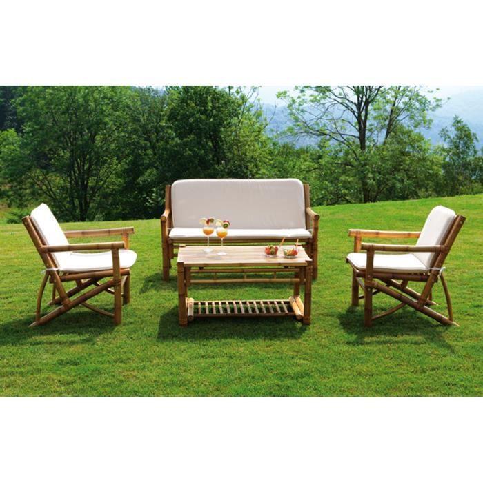 Salon jardin de 2 fauteuils avec coussins canap 2 places 1 table crus amovible achat Salon de jardin vasto