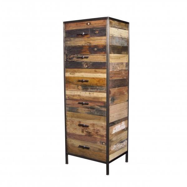 meuble de rangement bois m tal sizainier loft achat vente petit meuble rangement meuble de. Black Bedroom Furniture Sets. Home Design Ideas