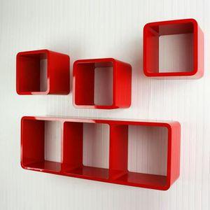 Etag re murale cube achat vente etag re murale cube pas cher cdiscount - Etagere murale rouge ...