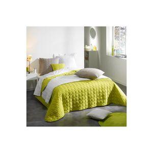 jete de lit vert anis achat vente jete de lit vert anis pas cher cdiscount. Black Bedroom Furniture Sets. Home Design Ideas