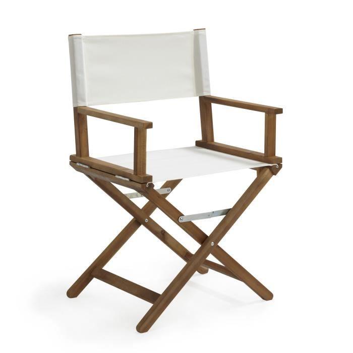 Gabin fauteuil de jardin r gisseur pliant blanc en acacia blanc achat vente fauteuil for Fauteuil de jardin canadien