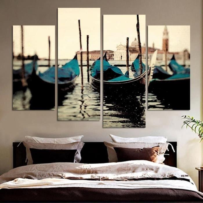 Mode no frame 4pcs bateau bleu seascape moderne peinture for Decoration murale bleu