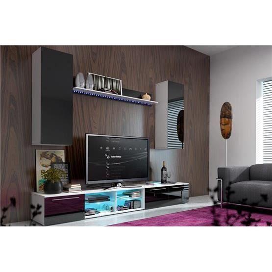 Meuble tv design mural ovsi blanc et noir composition for Meuble mural multimedia