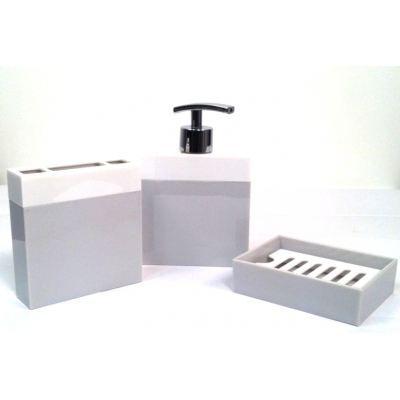 Pot de salle de bain design couleur gris achat vente - Accessoires salle de bain gris ...