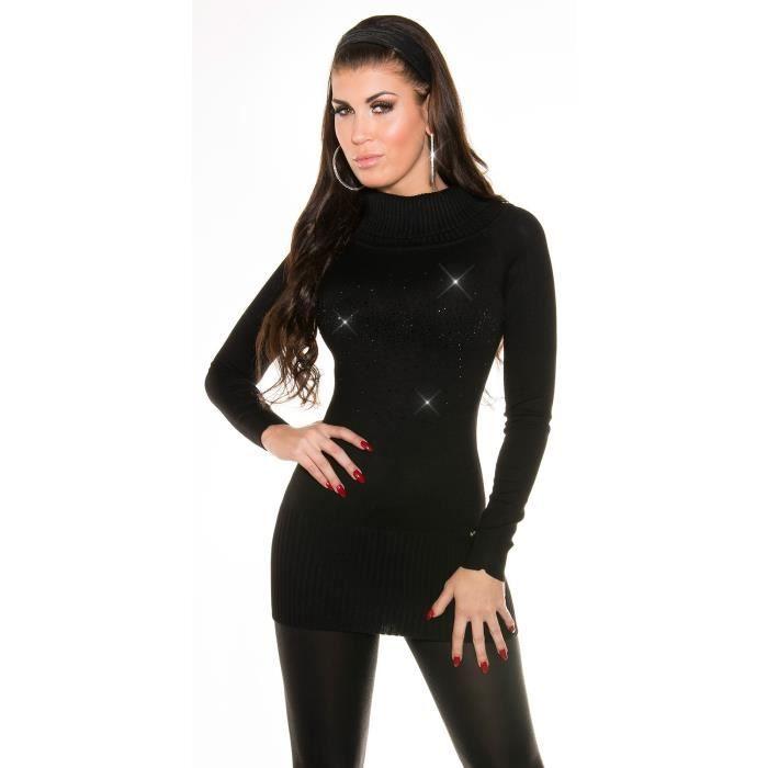 Pull femme koucla col roule et strass noir achat vente pull 2009954997457 soldes d hiver - Pull col roule noir femme ...