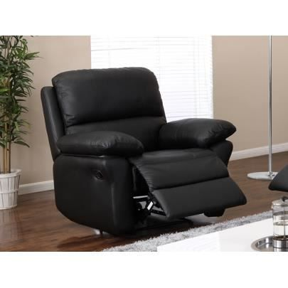fauteuil relax en cuir milagro noir achat vente. Black Bedroom Furniture Sets. Home Design Ideas