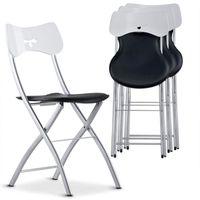 CHAISE  Lot de 4 chaises pliantes Wendy Bicolore Noir/Blan
