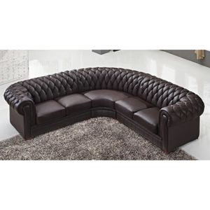 Canape cuir capitonne achat vente canape cuir for Chesterfield d angle