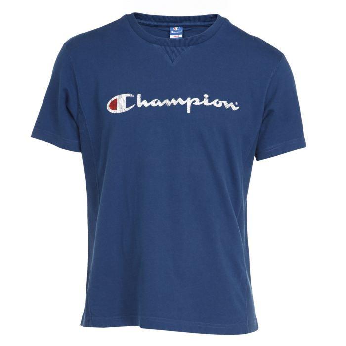 champion t shirt homme bleu achat vente t shirt champion tee shirt homme cdiscount cadeaux. Black Bedroom Furniture Sets. Home Design Ideas