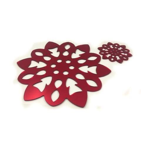 6 rouges flocon de neige napperons et sous verres achat for Miroir 40x150