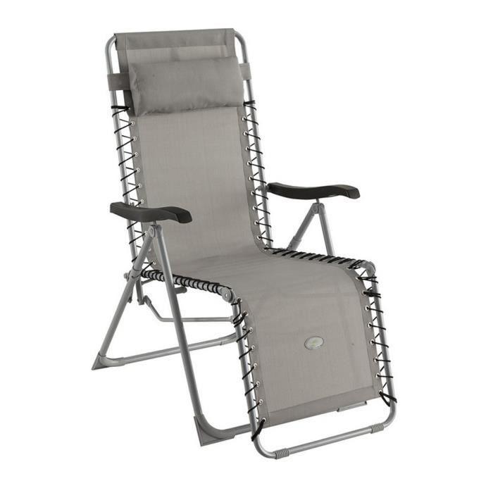Fauteuil silos d tente gris galet achat vente chaise for Chaise longue pliante