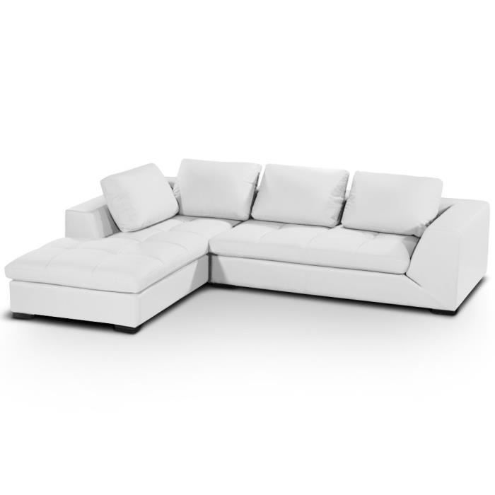 canap d 39 angle family blanc achat vente canap sofa. Black Bedroom Furniture Sets. Home Design Ideas