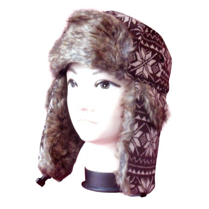 chapka homme fourrure avec prot ges oreilles tu marron achat vente bonnet cagoule. Black Bedroom Furniture Sets. Home Design Ideas