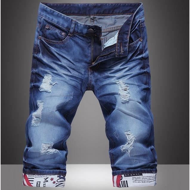 homme t fermeture clair short d contract e ripped jeans pantacourt pantalon bleu achat. Black Bedroom Furniture Sets. Home Design Ideas