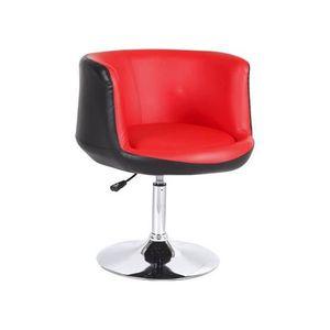 FAUTEUIL Fauteuil design Glenawa noir et rouge   A l'unité
