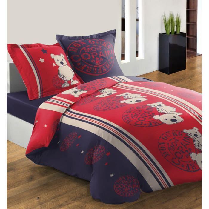 housse de couette 240x220 mon copain ours rouge achat vente housse de couette cdiscount. Black Bedroom Furniture Sets. Home Design Ideas