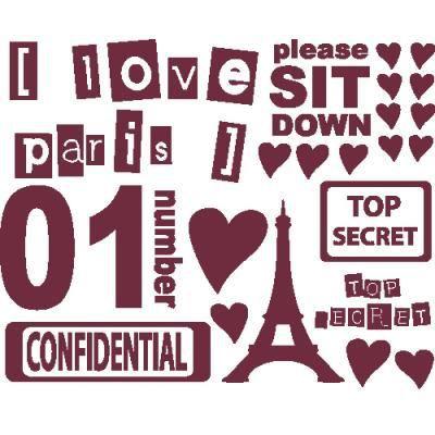 Stickers en kit pour ambiance chambre fille 87 x 68 cm bordeaux achat vente stickers - Ambiance chambre fille ...