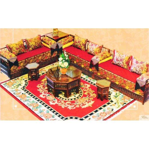 Salon marocain traditionnel complet fantasia en achat vente salon complet cdiscount for Banquette en bois pour salon