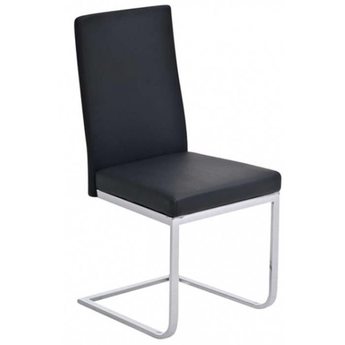 Chaise de salle manger noir en similicuir dim h106 x for Chaise de salle a manger noir