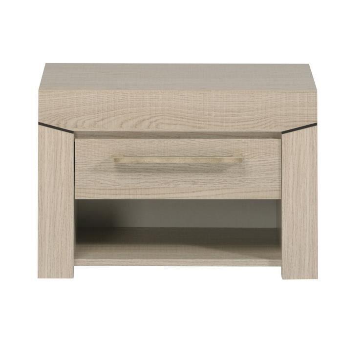 Table de chevet 1 tiroir ch ne blanc elena achat vente for Achat table de chevet