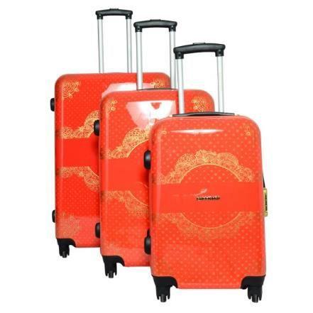 Lot de 3 valises lollipops rouge et or achat vente set - Lot de valise ...