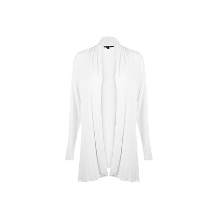 gilet long blanc manches longu blanc achat vente gilet cardigan cdiscount. Black Bedroom Furniture Sets. Home Design Ideas