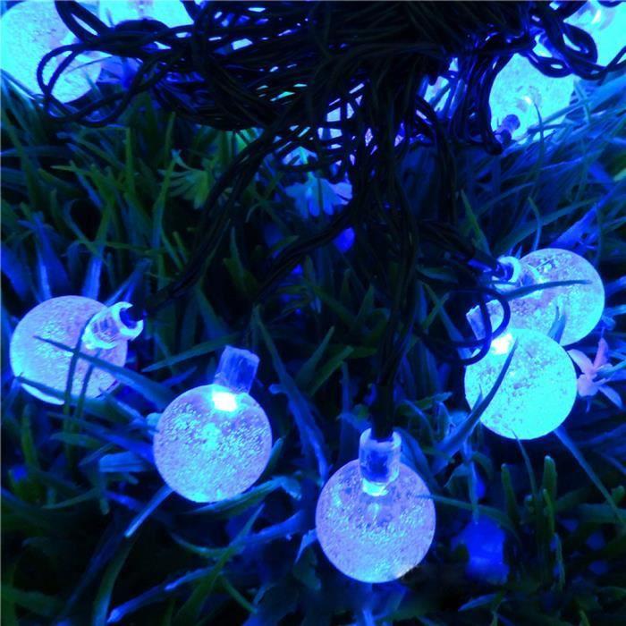 Guirlande lumineuse solaire etanche d 39 ext rieur 20leds - Guirlande lumineuse exterieur bleu ...