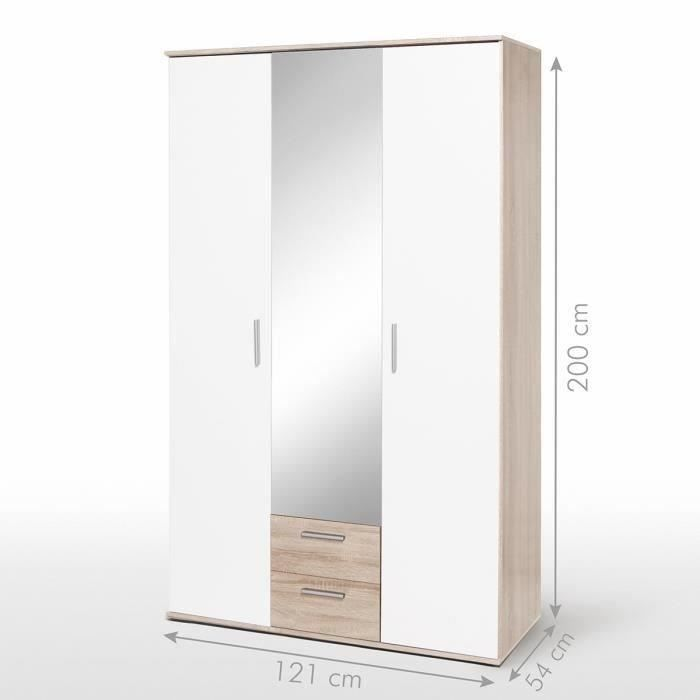 Finlandek armoire nano 120 cm blanc ch ne achat vente armoire de chambre - Achat armoire pas cher ...
