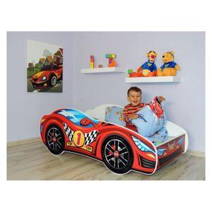 STRUCTURE DE LIT Lit Enfant VOITURE 140x70 + MATELAS ROUGE