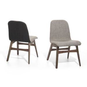 Chaise tissu gris clair achat vente chaise tissu gris for Chaise salle a manger tissu gris