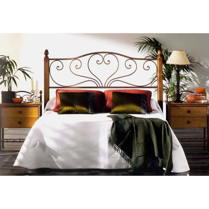 T te de lit en fer forg et bois mod le sandra achat vente t te de lit - Modele tete de lit en bois ...