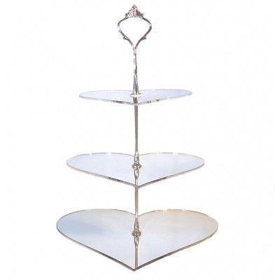 3 niveaux coeur argent miroir stand g teau grand achat for Miroir acrylique incassable