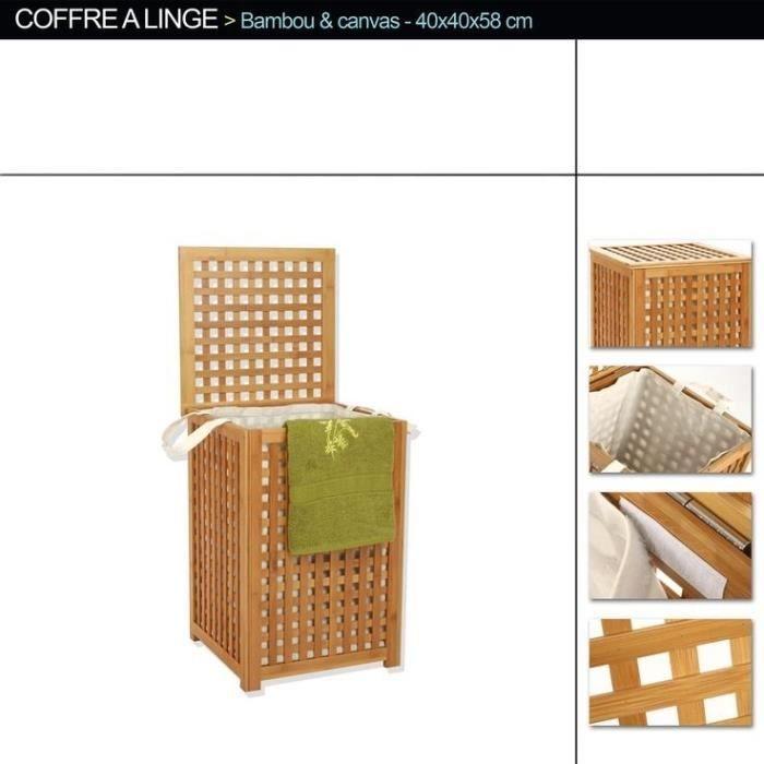 coffre linge bambou achat vente petit meuble rangement coffre linge bambou bois. Black Bedroom Furniture Sets. Home Design Ideas