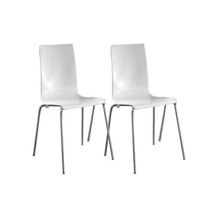 Lot de 2 chaises kris blanches empilables pi te achat vente chaise bla - Lot de 6 chaises blanches ...