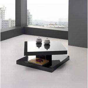 Table Basse Design Plateau Rotatif Lua Noir Couleur Noir Mati Re Mdf Achat Vente Table