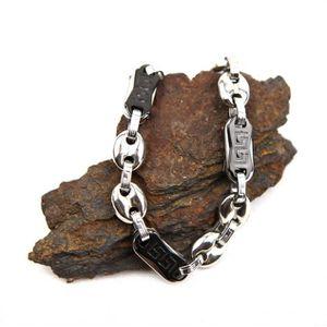BRACELET - GOURMETTE Bracelet grain de café grecque noir acier homme BR