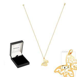 SAUTOIR ET COLLIER Diamantly Pendentif papillon et chaîne or - 45 cm