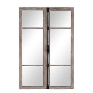 miroir fenetre en bois achat vente miroir fenetre en bois pas cher cdiscount. Black Bedroom Furniture Sets. Home Design Ideas