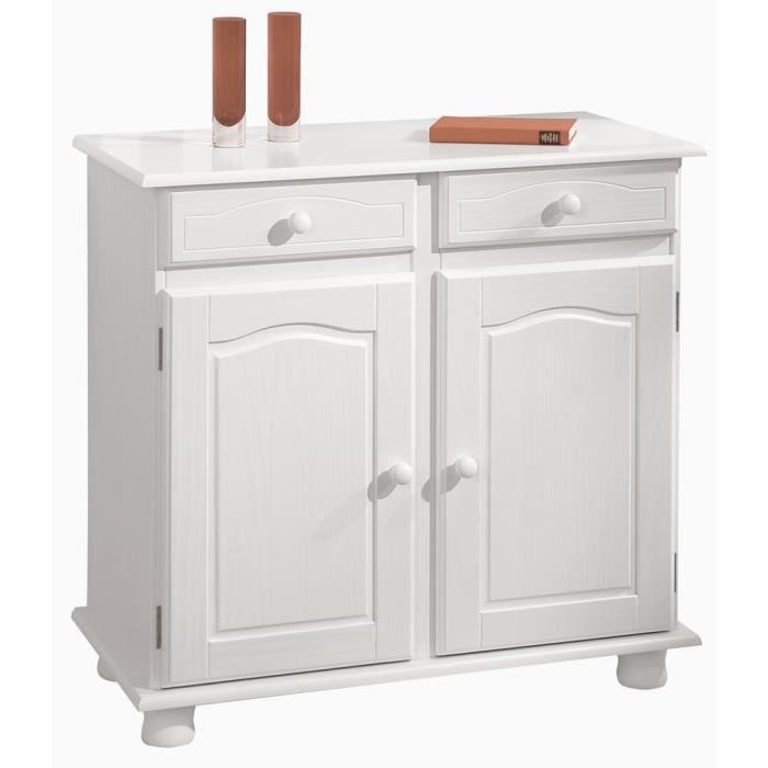 Meuble de rangement en pin massif blanc achat vente for Petit meuble blanc