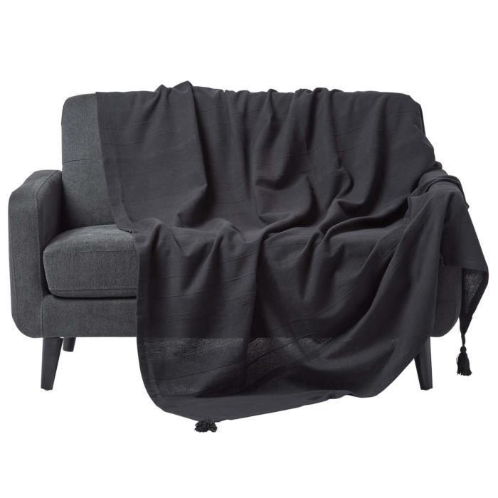 Jet de lit ou de canap rajput tiss main noir 250 - Jete de canape noir ...