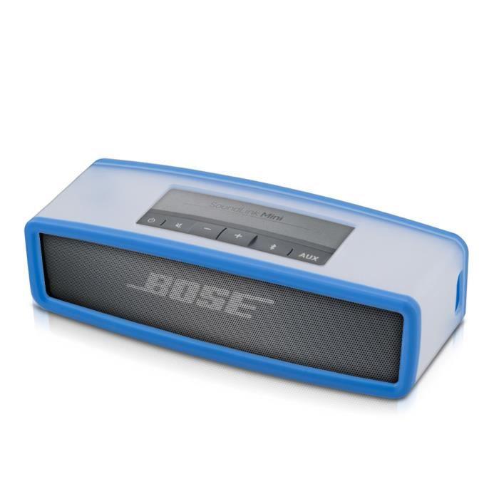 kwmobile tui en tpu silicone l gant pour bose soundlink mini haut parleur en transparent bleu. Black Bedroom Furniture Sets. Home Design Ideas