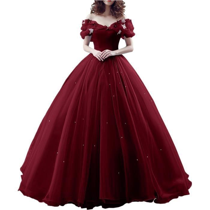 Robe de soiree robe de anniversaire epaule degagee romantique manche courte en papillon perle - Robe princesse disney adulte ...