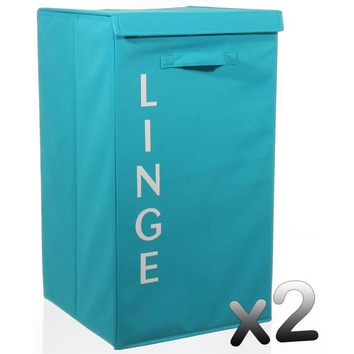 Lot de 2 paniers linge turquoise hauteur 65 x for Rangement linge de maison