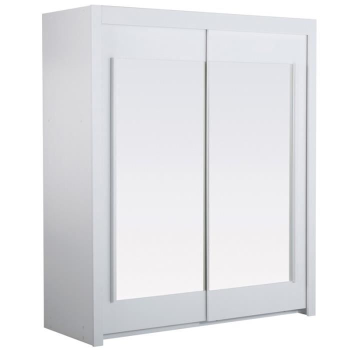 Armoire 2 portes coulissantes 180 cm blanc nity achat for Armoire chambre 180 cm