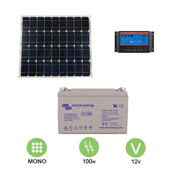 kit solaire autonome 100w 12v mono achat vente kit photovoltaique cdiscount. Black Bedroom Furniture Sets. Home Design Ideas