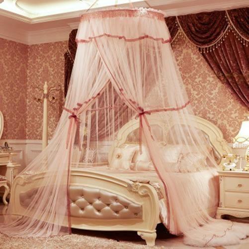 moustiquaire de lit double ciel de lit fille princesse accessoire d coration romantique orange. Black Bedroom Furniture Sets. Home Design Ideas